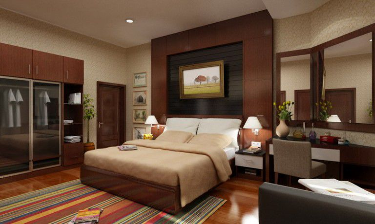 giả gỗ ốp tường phòng ngủ