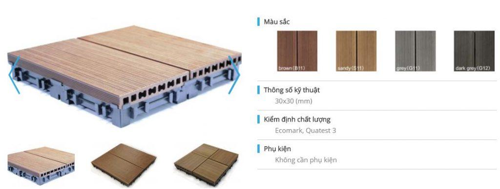 Gạch gỗ nhựa zemwood kích thước 30x30 mm